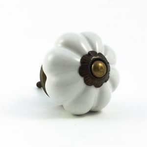 Oatmeal White Ceramic Melon Knob