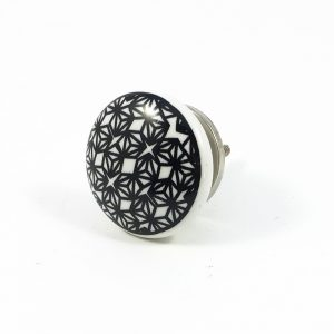 Black retro Geo pattern knob 5 300x300 - Black and White Retro Geo Knob