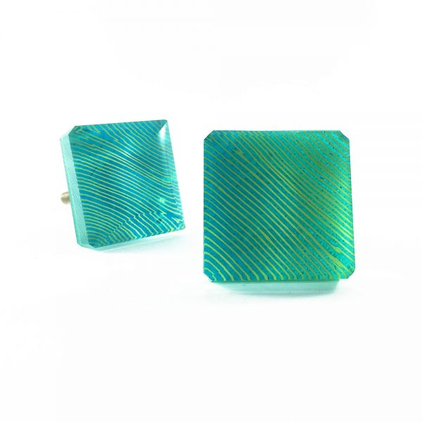 Square Turquoise Blue Lined Glass Knob