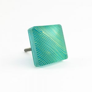 Blue lined square glass knob 8 300x300 - Square Turquoise Blue Lined Glass Knob