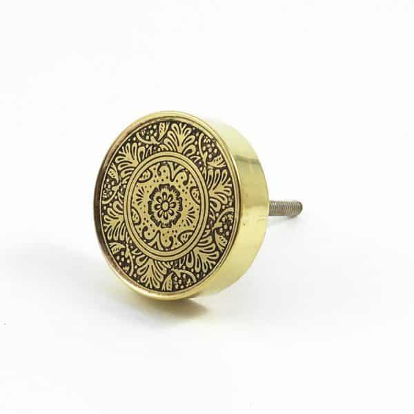 Round Brass Floral Etched Knob