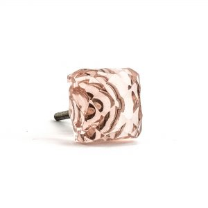 Square Light Pink Glass Knob
