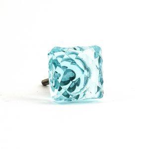 Square Light Blue Glass Knob