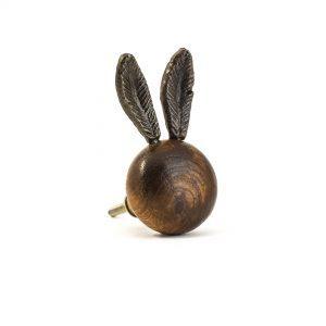 Wooden Long Eared Rabbit Knob