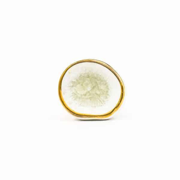 MINI White and Gold Crater Knob