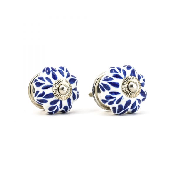 Blue Petal Design Ceramic Knob -Silver