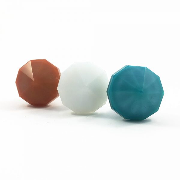 Solid Decagon knob blue white dark peach 4 600x600 - Coral Pink Polygon Knob