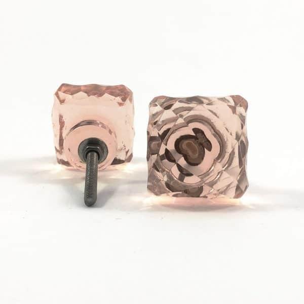 Square Light Pink Glass Knob