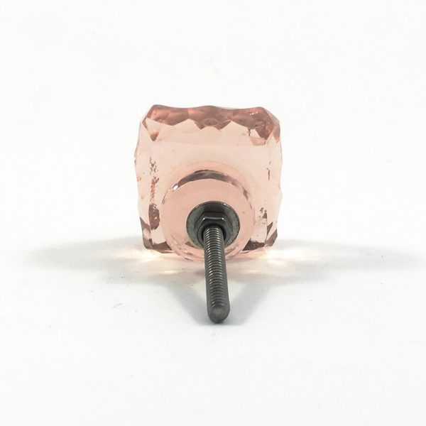 blue and pink square glass knob 18 600x600 - Square Light Pink Glass Knob