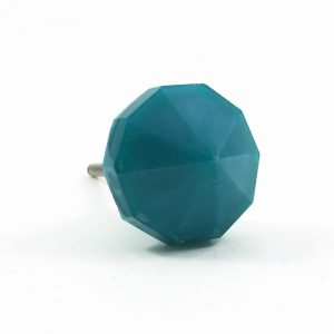 Dusty Blue Teal Polygon Knob