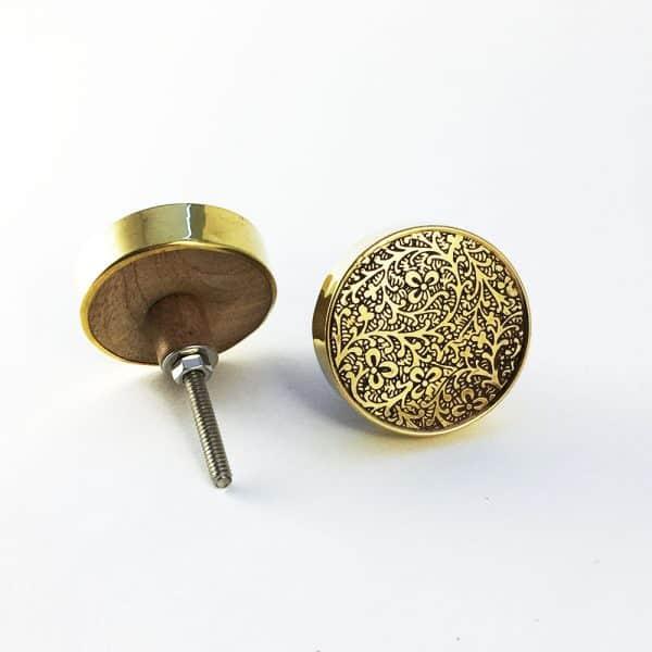 Round Brass Paisley Etched Knob