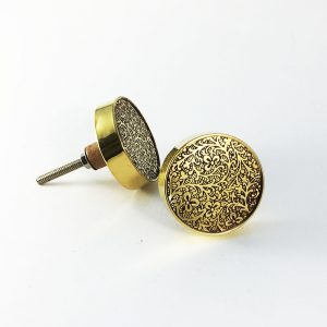 Round Brass Paisley Etched Knob