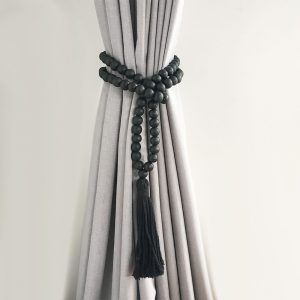black round bead and tassel curtain tieback 1 300x300 - Single -Black Bohemian Bead and Tassel Curtain Tieback