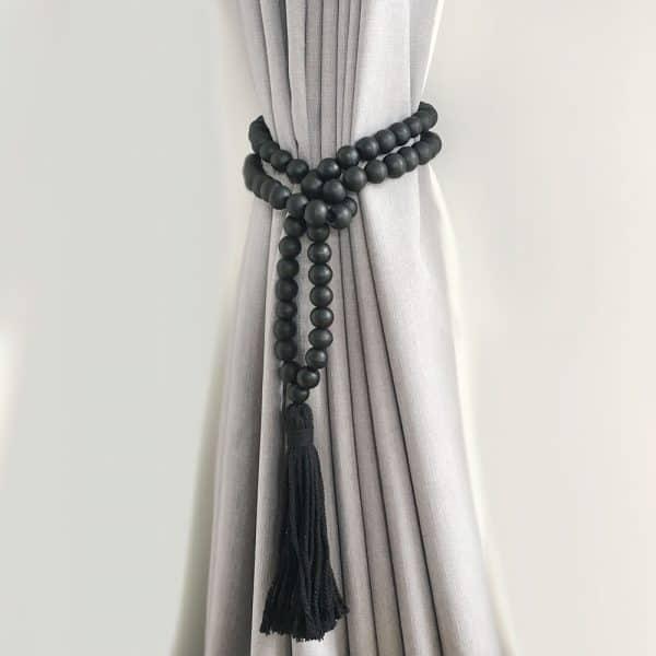 Single -Black Bohemian Bead and Tassel Curtain Tieback