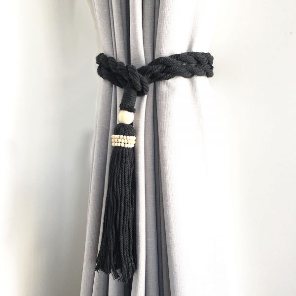 Single -Black Bohemian Macrame Curtain Tieback
