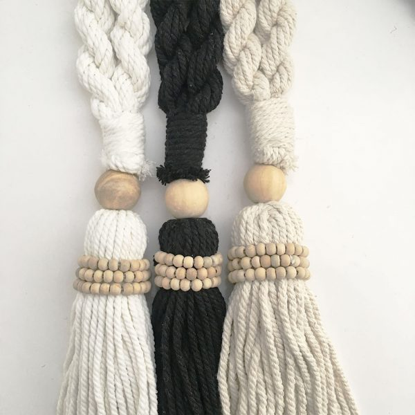bohemian macrame curtain tiebacks group 10 600x600 - Single -White Bohemian Macrame Curtain Tieback