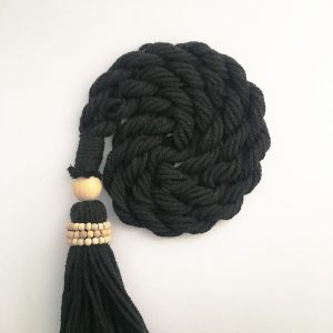 bohemian macrame curtain tiebacks group 5 300x300 - Single -Black Bohemian Macrame Curtain Tieback