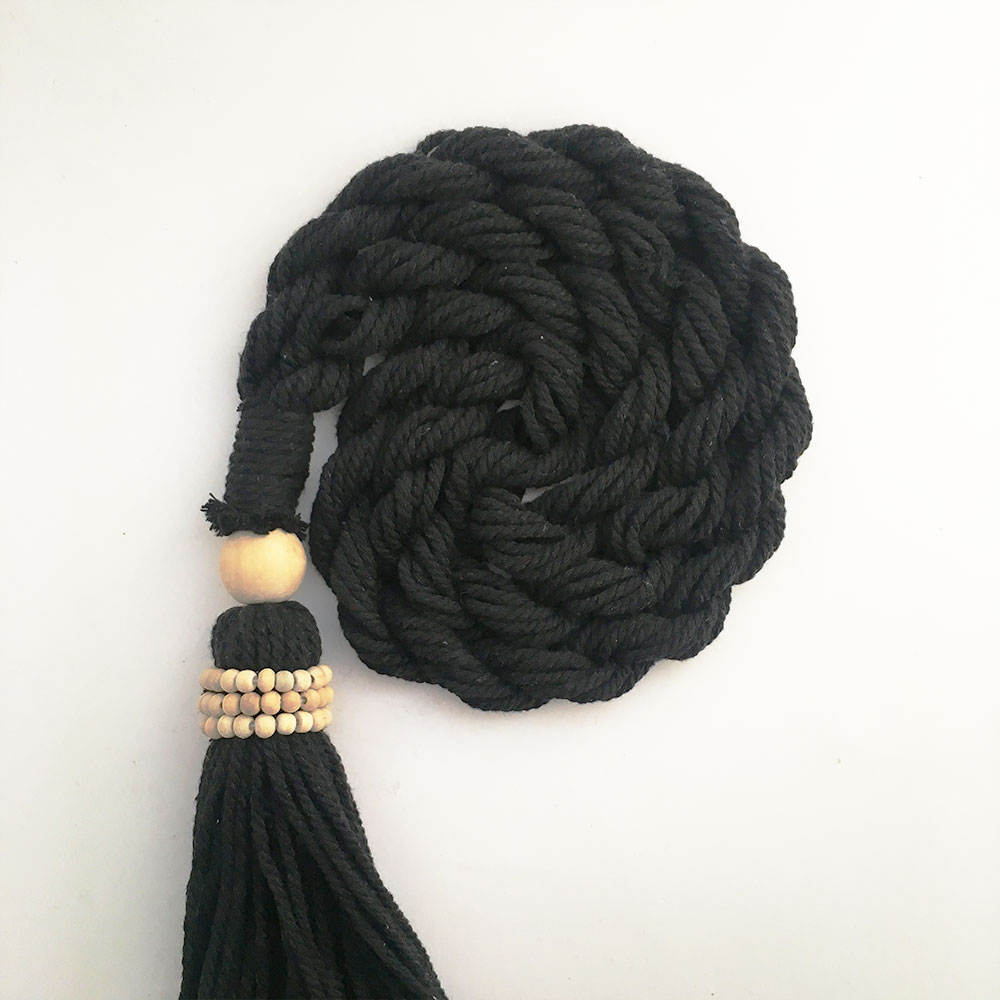 Black Bohemian Macrame Curtain Tieback