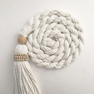 bohemian macrame curtain tiebacks group 6 300x300 - Single -White Bohemian Macrame Curtain Tieback