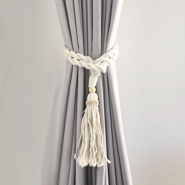 bohemian macrame curtain tiebacks natural 1 600x600 - Single -Natural Bohemian Macrame Curtain Tieback
