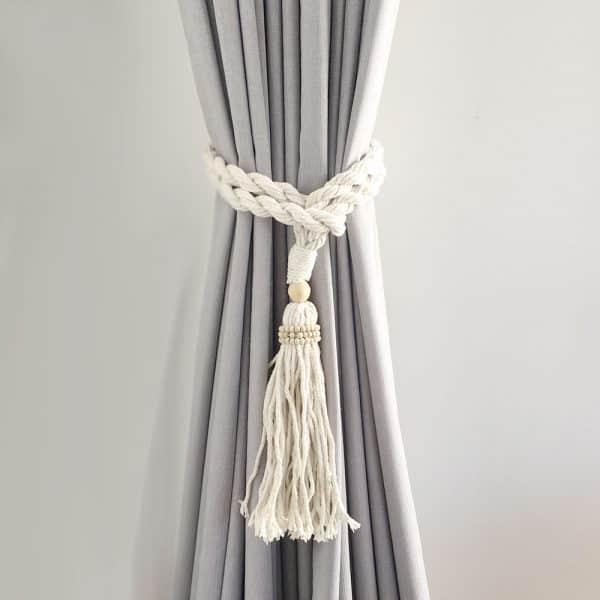 Single -Natural Bohemian Macrame Curtain Tieback