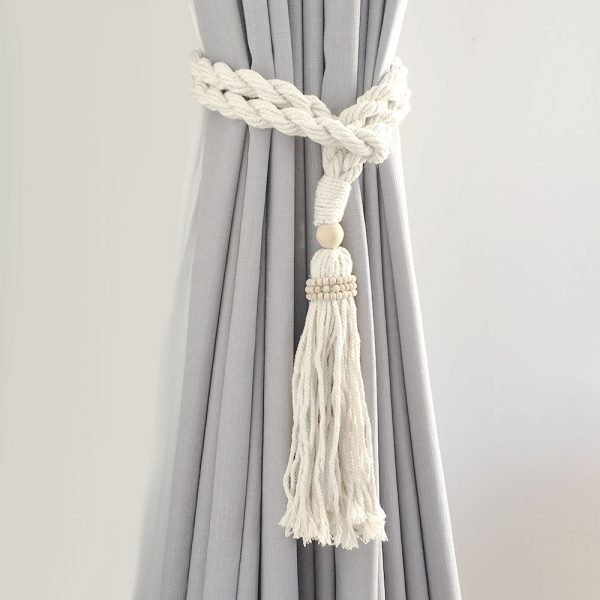 bohemian macrame curtain tiebacks natural 2 600x600 - Single -Natural Bohemian Macrame Curtain Tieback
