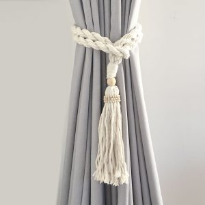 bohemian macrame curtain tiebacks natural 3 300x300 - Single -Natural Bohemian Macrame Curtain Tieback