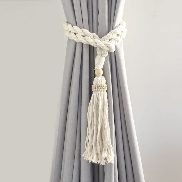 bohemian macrame curtain tiebacks natural 3 600x600 - Single -Natural Bohemian Macrame Curtain Tieback