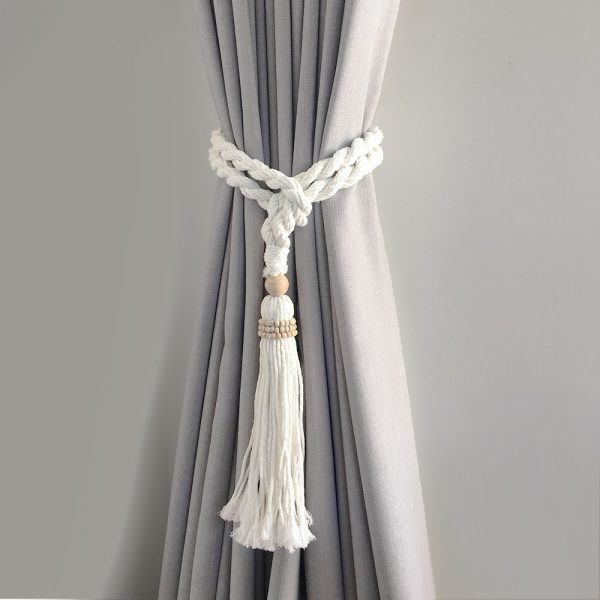 bohemian macrame curtain tiebacks white 1 600x600 - Single -White Bohemian Macrame Curtain Tieback