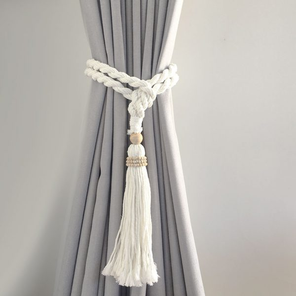 bohemian macrame curtain tiebacks white 2 600x600 - Single -White Bohemian Macrame Curtain Tieback