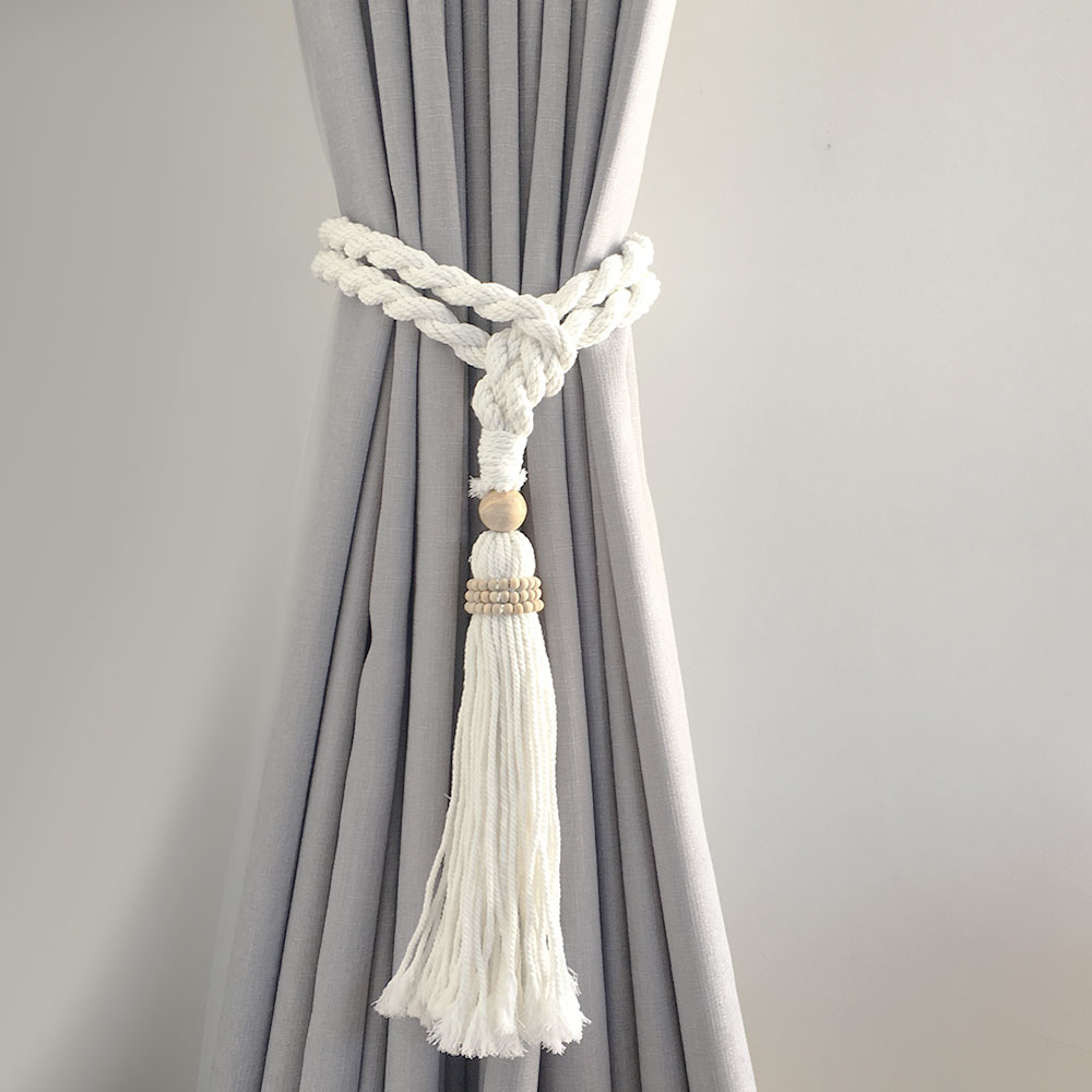 Single -White Bohemian Macrame Curtain Tieback
