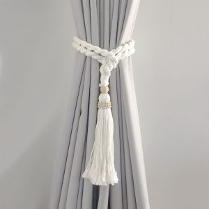 bohemian macrame curtain tiebacks white 3 300x300 - Single -White Bohemian Macrame Curtain Tieback