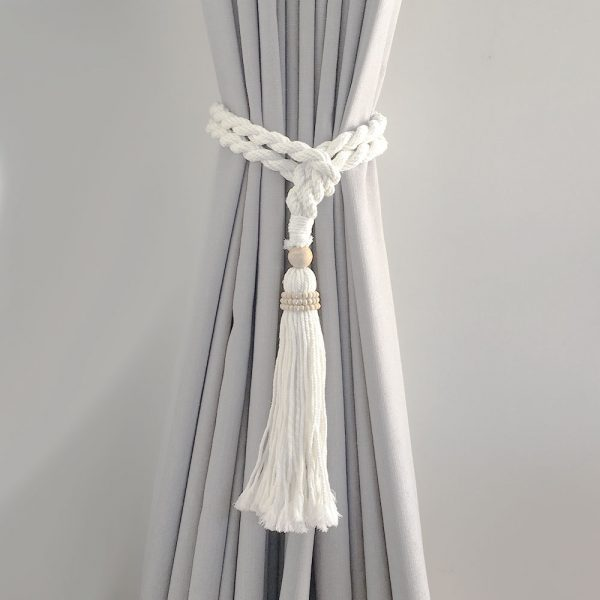 bohemian macrame curtain tiebacks white 3 600x600 - Single -White Bohemian Macrame Curtain Tieback
