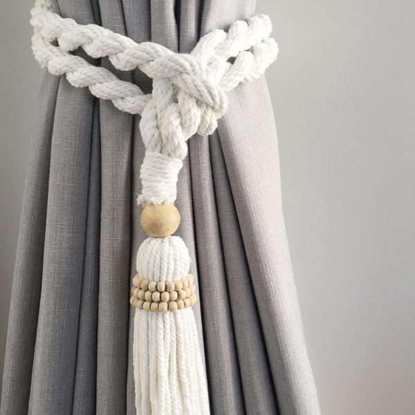 bohemian macrame curtain tiebacks white 4 600x600 - Single -White Bohemian Macrame Curtain Tieback