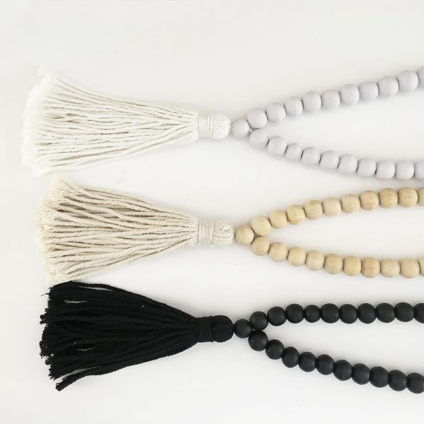 insitu round bead and tasse curtain tieback decor bead group 5 600x600 - Single -White Bohemian Bead and Tassel Curtain Tieback