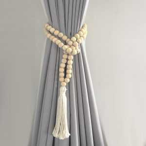 natural round bead and tassel curtain tieback 1 300x300 - Single -Natural Bohemian Bead and Tassel Curtain Tieback