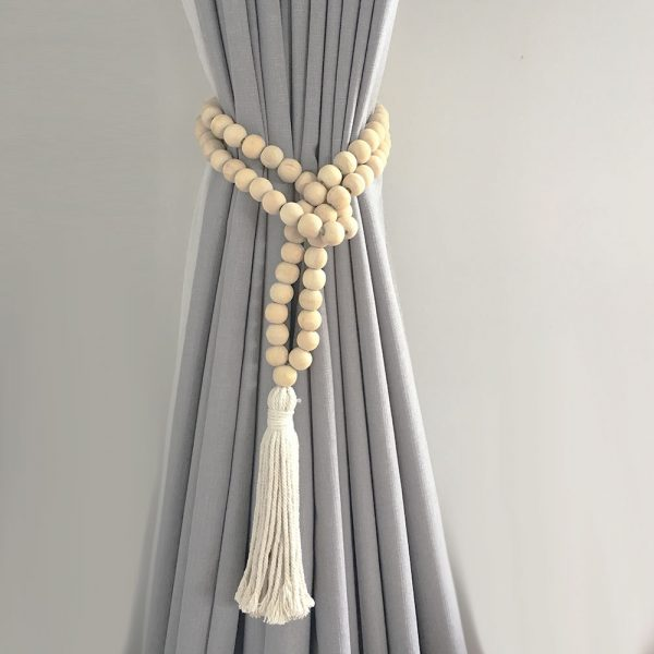 natural round bead and tassel curtain tieback 1 600x600 - Single -Natural Bohemian Bead and Tassel Curtain Tieback