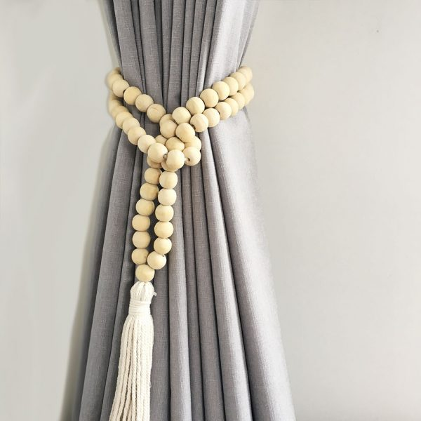 natural round bead and tassel curtain tieback 3 1 600x600 - Single -Natural Bohemian Bead and Tassel Curtain Tieback