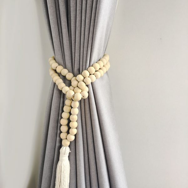 natural round bead and tassel curtain tieback 4 600x600 - Single -Natural Bohemian Bead and Tassel Curtain Tieback