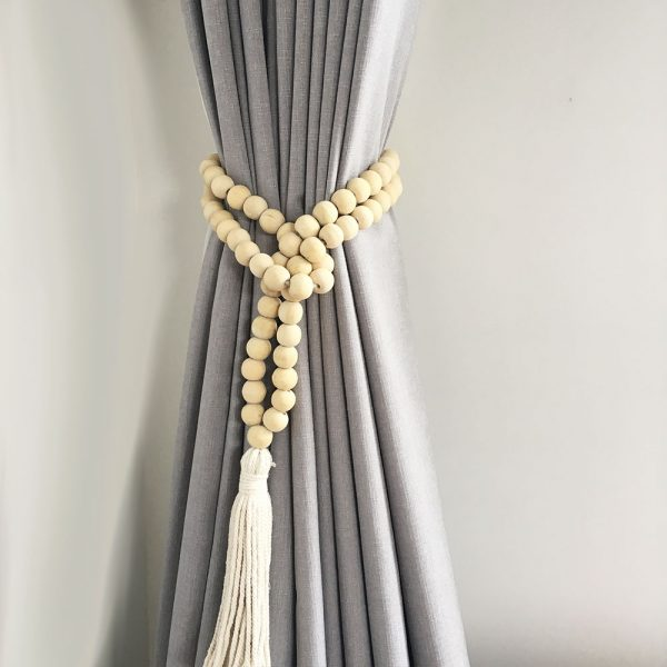 natural round bead and tassel curtain tieback 5 1 600x600 - Single -Natural Bohemian Bead and Tassel Curtain Tieback