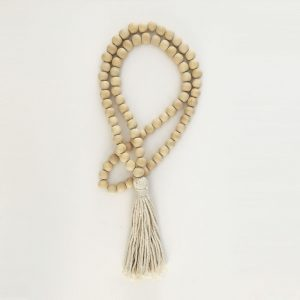 Single -Natural Bohemian Bead and Tassel Curtain Tieback