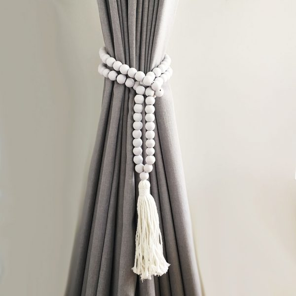 white round bead and tassel curtain tieback 1 600x600 - Single -White Bohemian Bead and Tassel Curtain Tieback