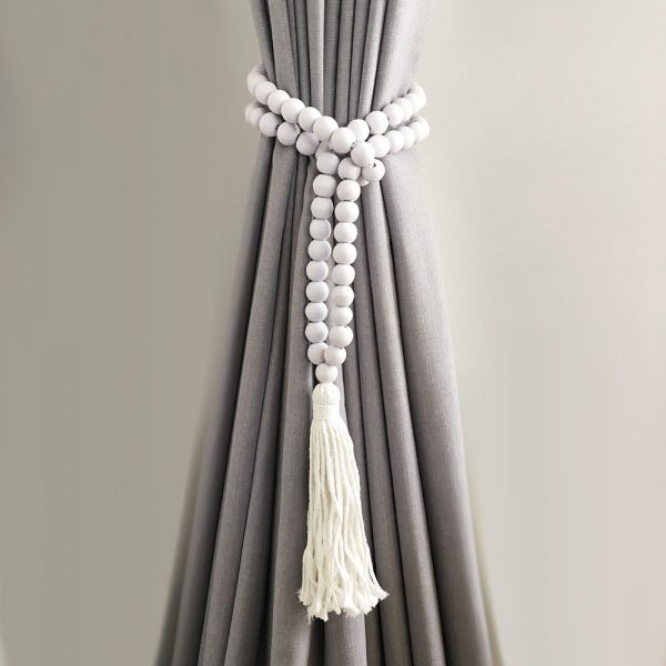 white round bead and tassel curtain tieback 2 600x600 - Single -White Bohemian Bead and Tassel Curtain Tieback