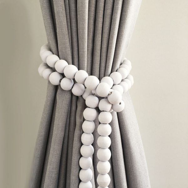 white round bead and tassel curtain tieback 3 600x600 - Single -White Bohemian Bead and Tassel Curtain Tieback