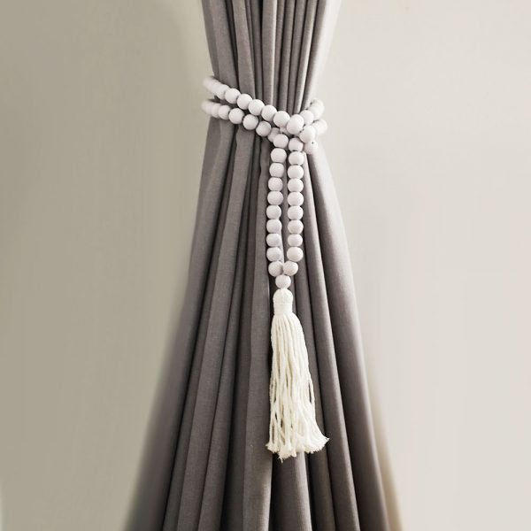 white round bead and tassel curtain tieback 5 600x600 - Single -White Bohemian Bead and Tassel Curtain Tieback
