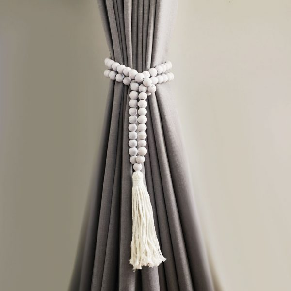 white round bead and tassel curtain tieback 6 600x600 - Single -White Bohemian Bead and Tassel Curtain Tieback