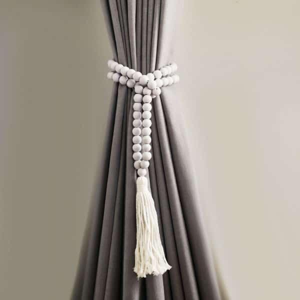Single -White Bohemian Bead and Tassel Curtain Tieback