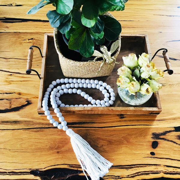 white round bead and tassel curtain tieback 7 600x600 - Single -White Bohemian Bead and Tassel Curtain Tieback