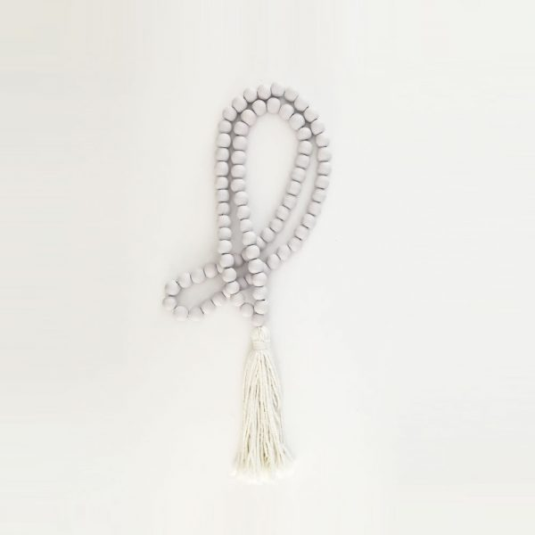 white round bead and tassel curtain tieback 8 600x600 - Single -White Bohemian Bead and Tassel Curtain Tieback