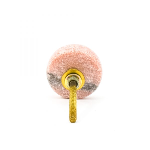 Grey and Pink Marble and Brass Knob